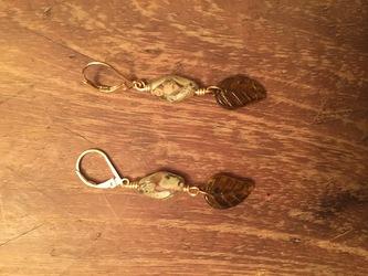Brown Leaf Earrings