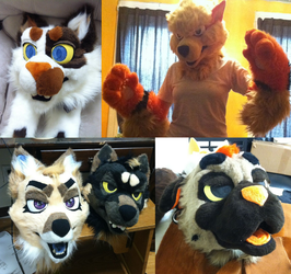 2013 completed fursuit heads