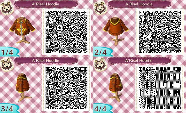A'Risel Hoodie QR Code For Animal Crossing New Leaf