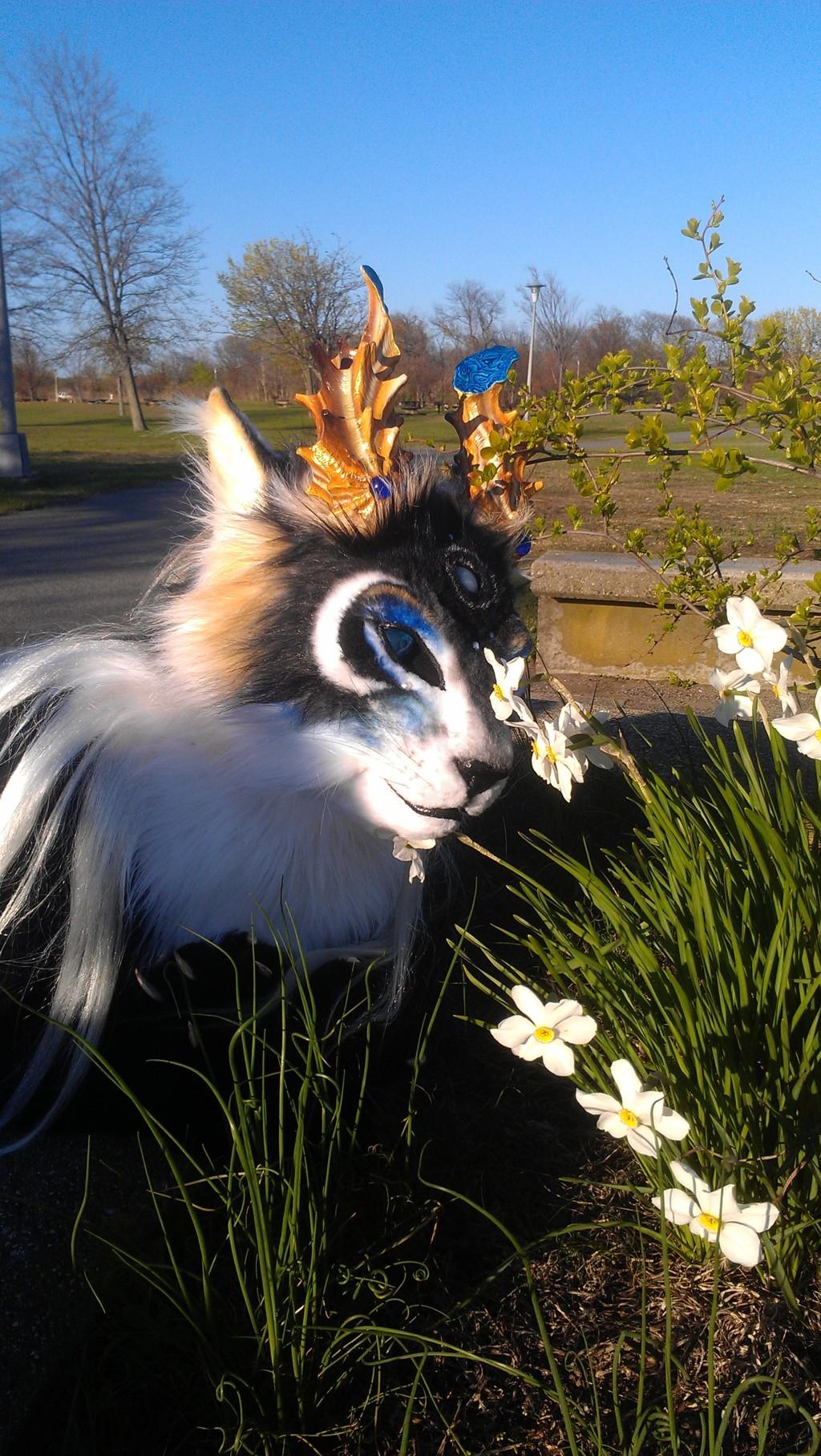 enjoying flowers