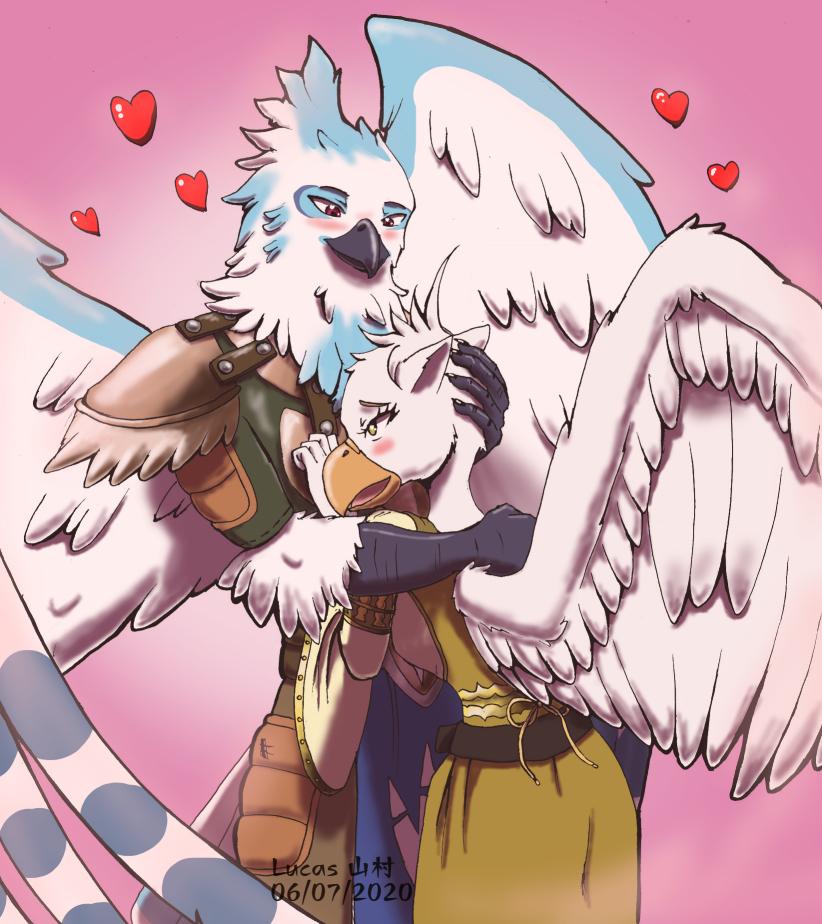 Comm - Pair of lovebirds