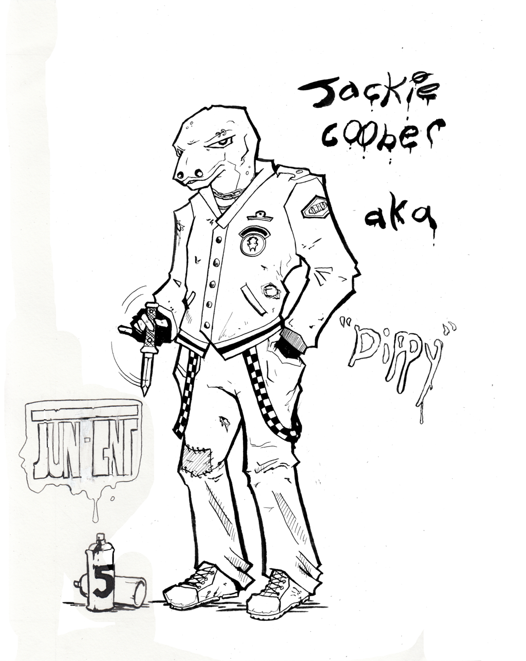 "Most recent image: Inktober #5 - Jackie ""Dippy"" Coober"
