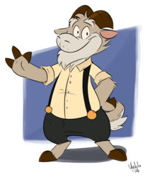 Goat in suspenders