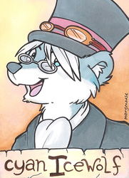 Cyan Icewolf Conbadge - by Mary Mouse