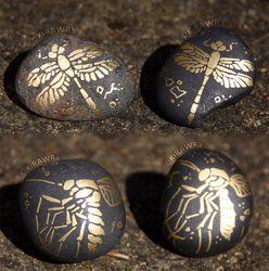 Painted Fossil Rock Magnets - Dragonfly + Mosquito