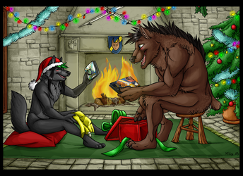 COMMISSION  + Christmas in a castle