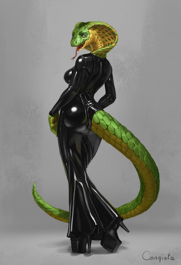 Snake in a latex dress