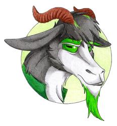 Grumpy green goat