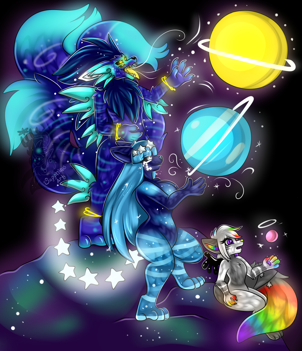 Cosmic Family Time +Shaded Lineart Commission+