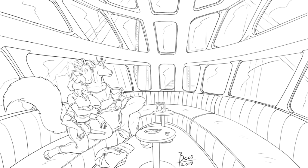 Most recent image: Coffee on the Train [STrRedWolf & Tazel comm]