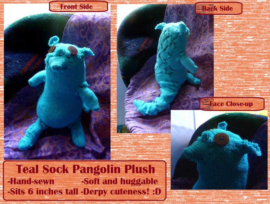 Teal Sock Pangolin Plush (On Etsy!)