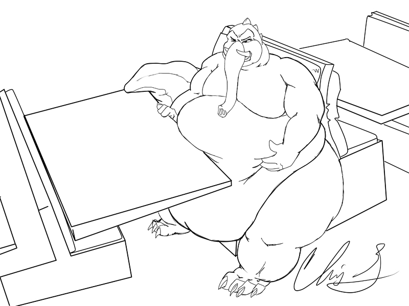 Bokra's Mammothgator can't quite fit in the booth...