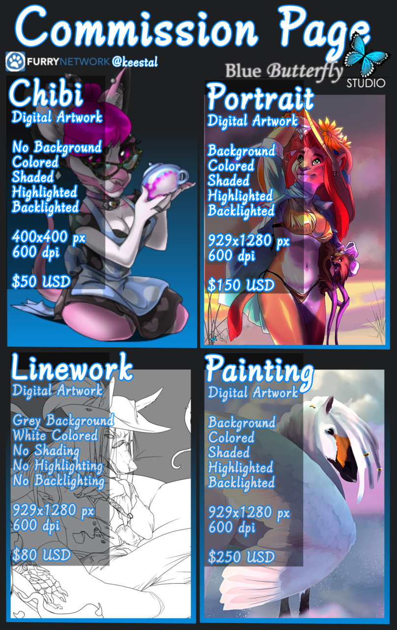 Most recent image: Available Commission Types
