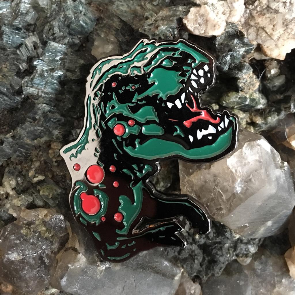 The Ruby Leaf CYBER-REX enamel pin
