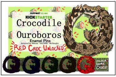 Crocodile Ouroboros Hard Enamel Pins!! Still Live!
