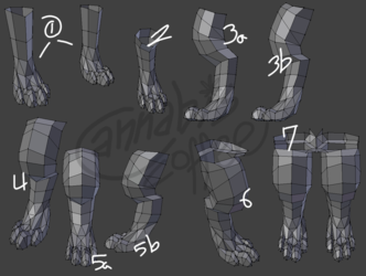 Fursona Model Progress - Legs
