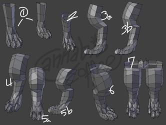 Fursona Model Progress - Legs