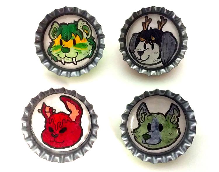 Bottle Cap Pin Commission