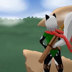 Shiku on a cliff