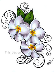 Plumeria 'Siam Lilac' tattoo design