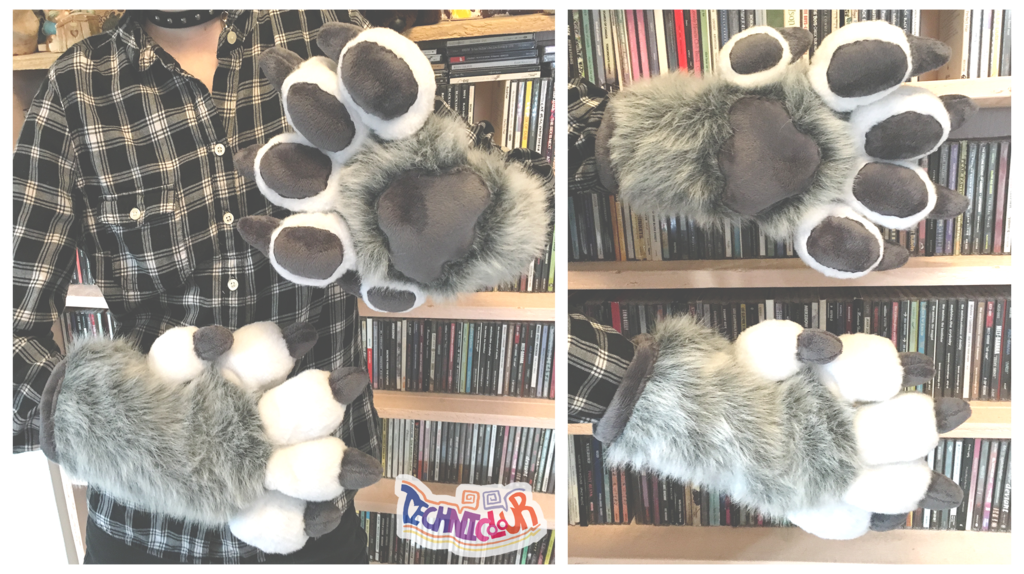 Gray Wolf or Husky Feral Fursuit Handpaws With Claws
