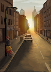 Speedpainting Commission _ urban morning street