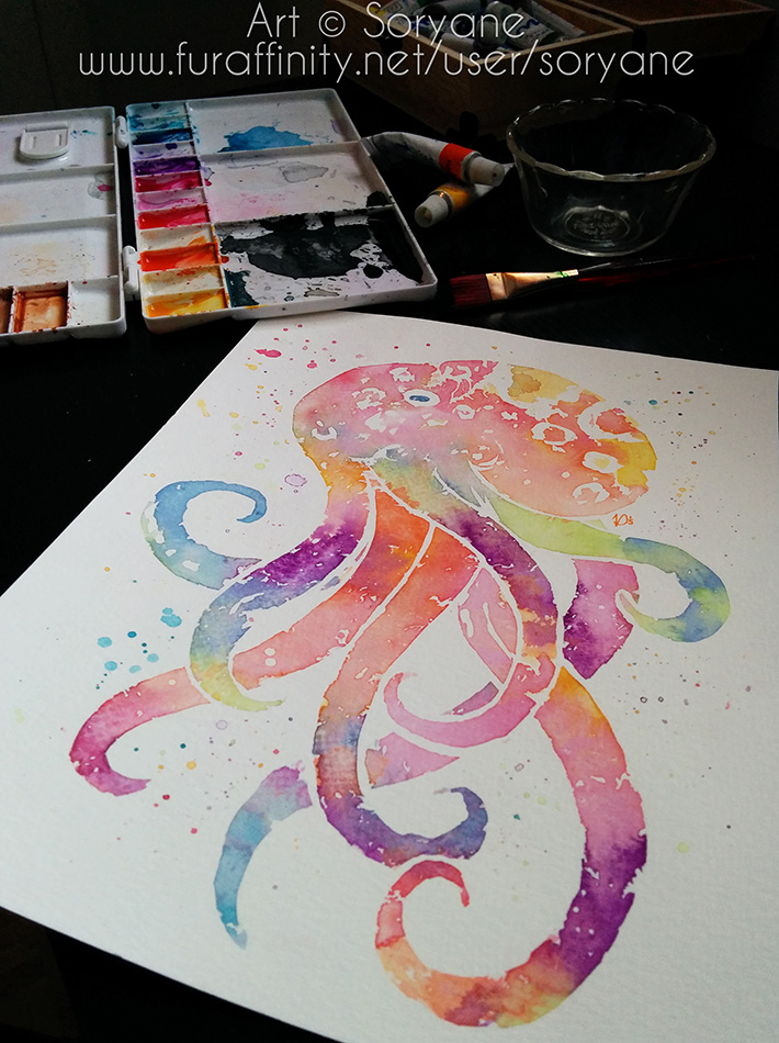 Octopus - Watercolor Splatter