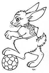 Soccer Rabbit - Lineart
