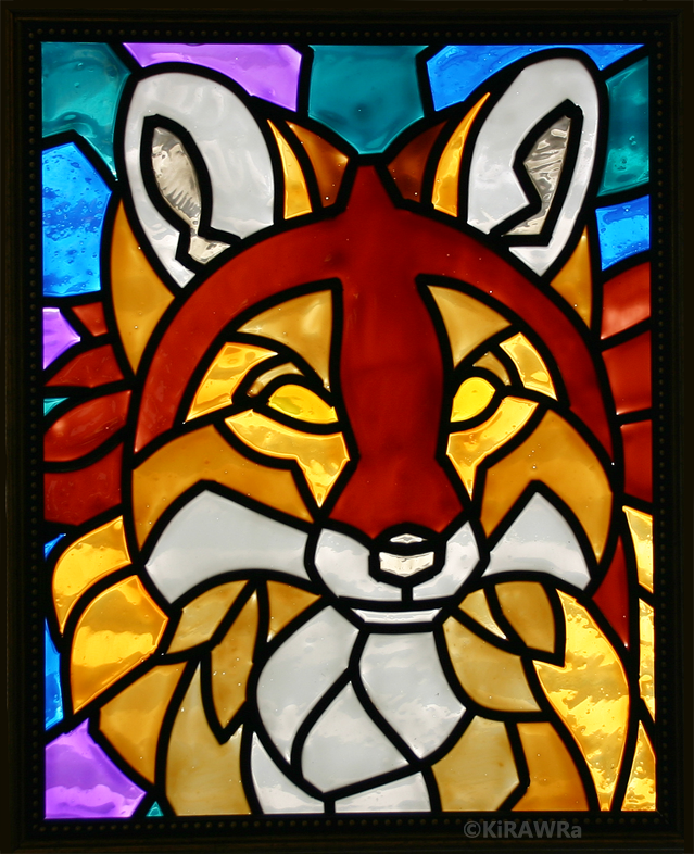 Red Fox Faux Stained Glass (Indoor)