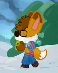 (Commission) A Damien takes a snow walk.