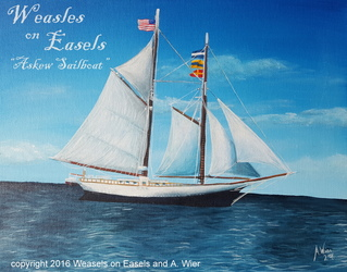 Askew Sailboat - Acrylic Painting on Canvas Board