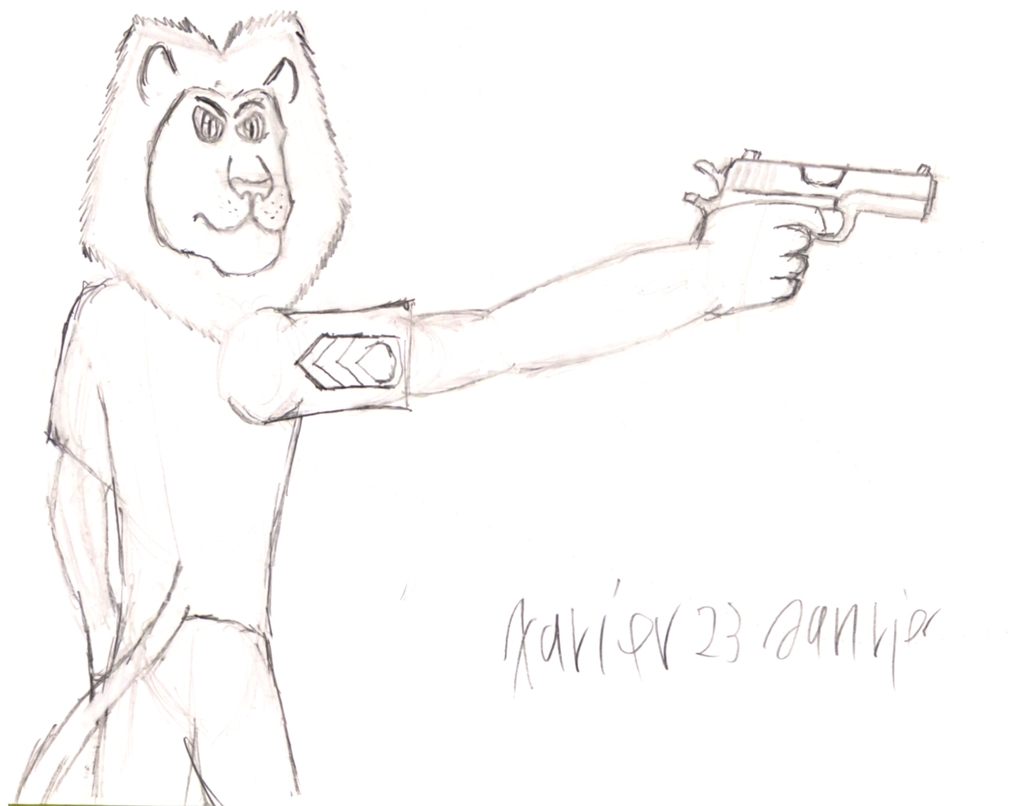 Lauva with a pistol