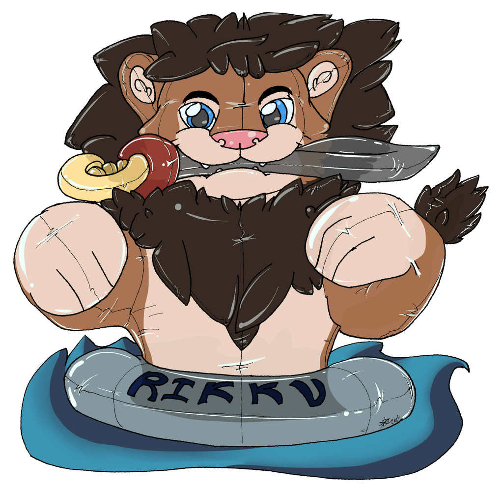Summer Fun with a Lion pool toy