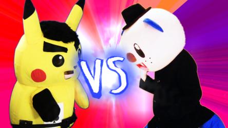 "Mascot Fursuiting: Pokken Street Combat, ""Oshawott vs. Ace M. Bisonchu"""