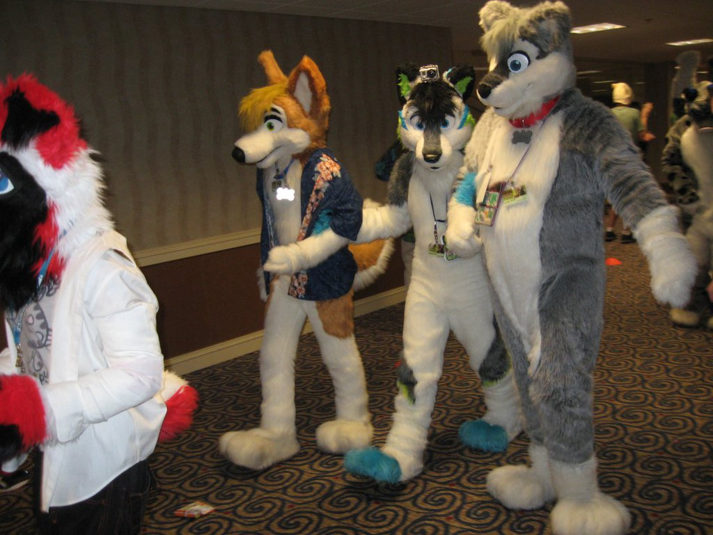 FWA 2012 - Day 2 - Fursuit Parade - Howee, Electropaw, and Indy Corgi