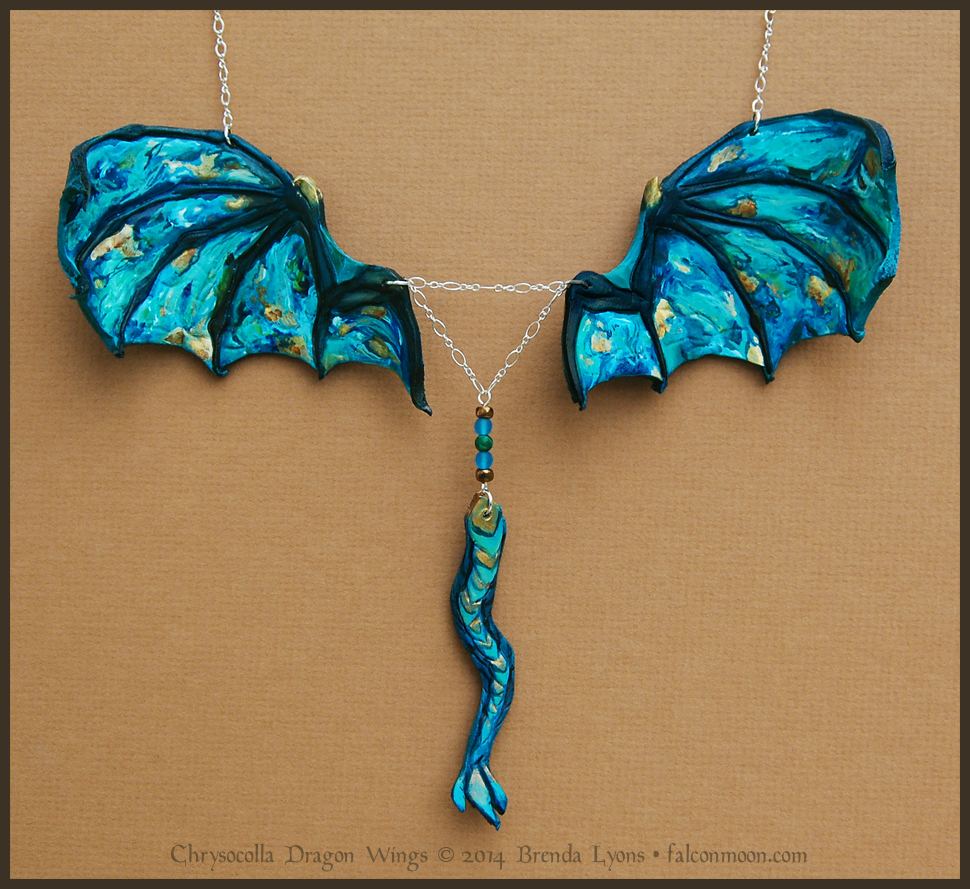 Chrysocolla Dragon Wings - Leather Necklace