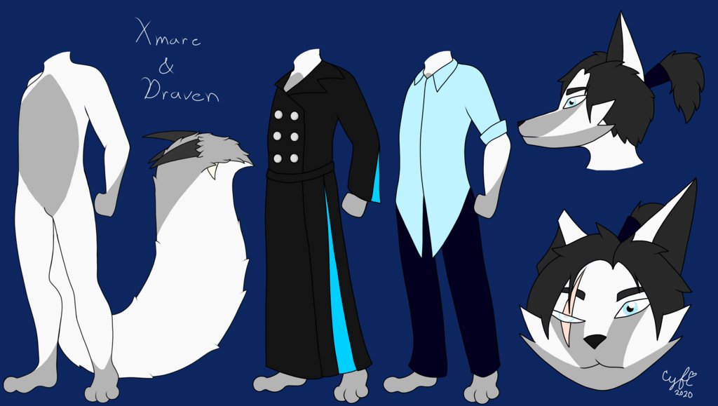 Xmare and Draven SFW ref sheet