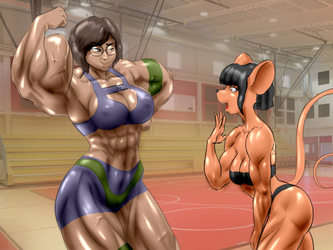 Heather and Candi at the gym