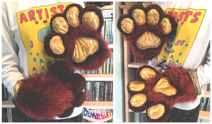 Brown Fursuit Handpaws With Rainbow Gold Pawpads