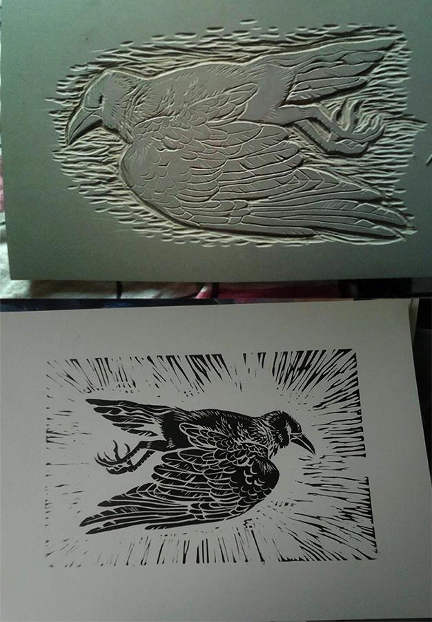 Dead Bird Linocut