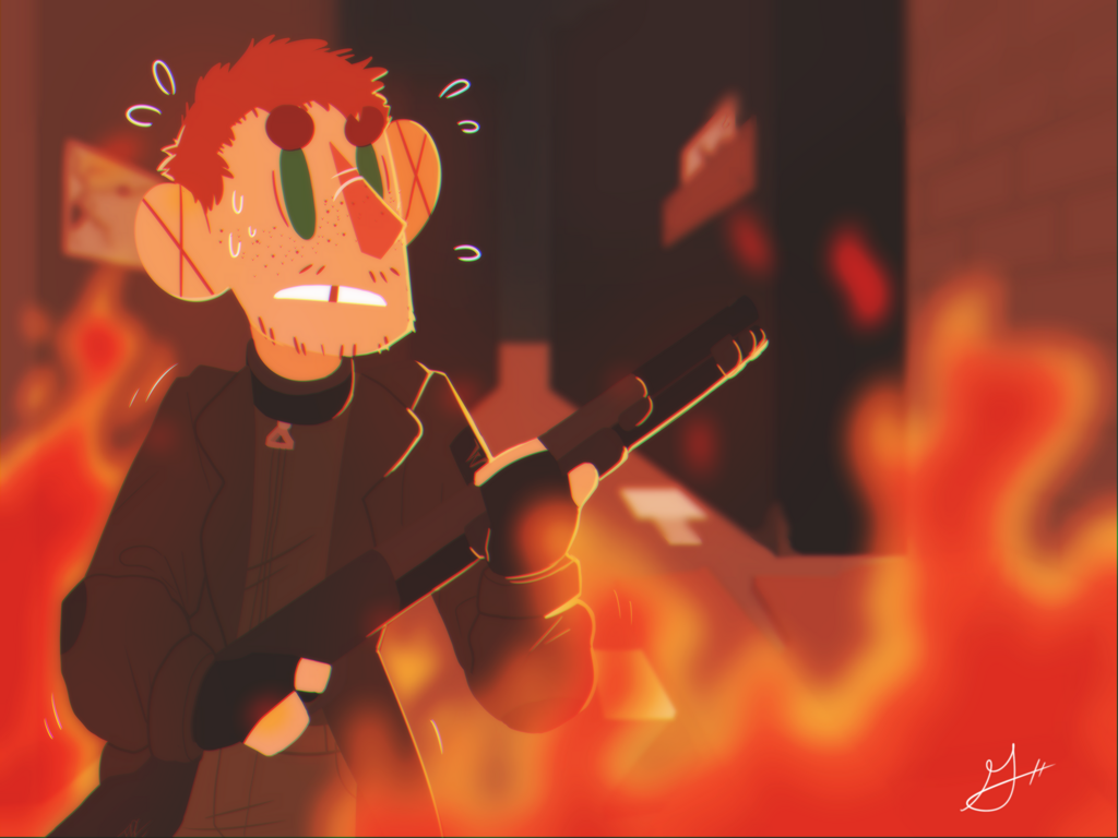 Most recent image: up in flames // oc