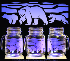 Etched Glass - Polar Bears