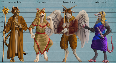 Commission - 4 Character Lineup Painting