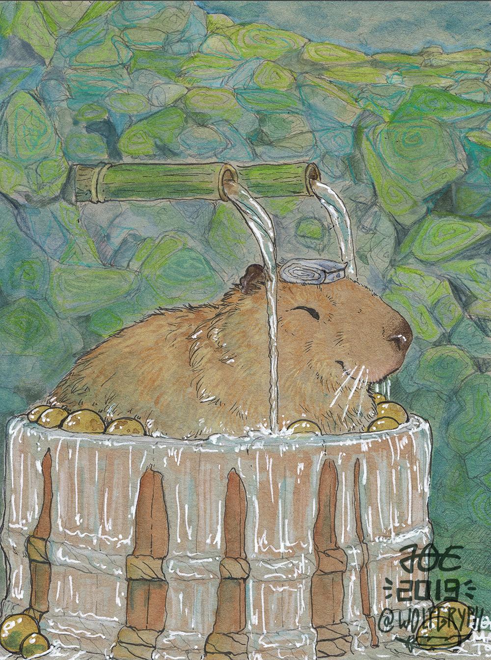 Toned Grey Watercolor - Capybara Onsen