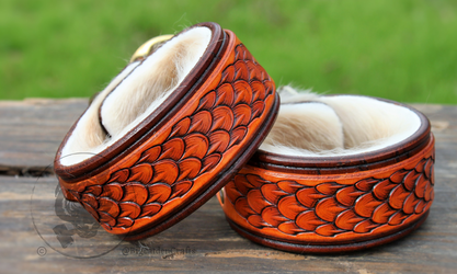 Orange & Brown Dragonscale Cuffs