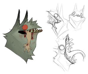 Pazuzu teeth sketches