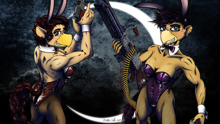 Charlotte and Pennrose - Dirty Pair Pinup BG - Apart