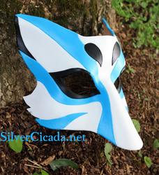 Blue Kabuki Kitsune Leather Mask