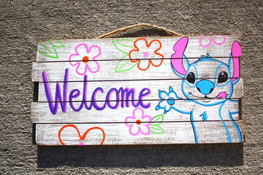 stitch welcome sign
