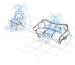 furry furniture sketch